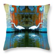 Egrets Nest In A Palace Throw Pillow