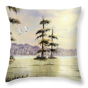 Egrets Over Wakulla Springs Throw Pillow