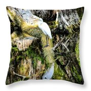Egrets Reflection Throw Pillow