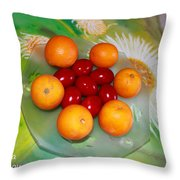 Egss Fruits And Flowers Throw Pillow