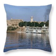 Egypt - Nile Steamboat Throw Pillow