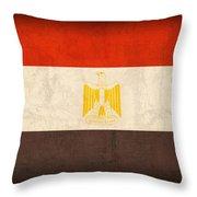 Egypt Flag Distressed Vintage Finish Throw Pillow