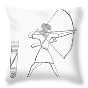 Egyptian Archer And Quiver.  From The Imperial Bible Dictionary, Published 1889 Throw Pillow