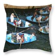Egyptian Entrepreneurs At The Canal Locks Throw Pillow