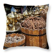 Egyptian Market Stall Throw Pillow