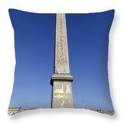 Egyptian Obelisk At The Place De La Concorde In Paris France Throw Pillow