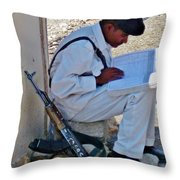 Egytian Security Relaxes Before The Spring Throw Pillow