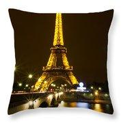 Eiffel At Night Throw Pillow