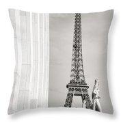 Eiffel Tour Paris Black And White Throw Pillow