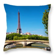 Eiffel Tower And Bridge On Seine River In Paris France Throw Pillow