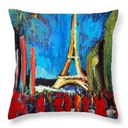 Eiffel Tower And The Red Visitors Throw Pillow