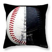 Eiffel Tower Baseball Square Throw Pillow