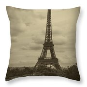 Eiffel Tower Throw Pillow by Debra and Dave Vanderlaan