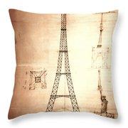 Eiffel Tower Design Throw Pillow