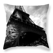 Eiffel Tower In Black And White. Ominous Sky Overhead Throw Pillow