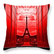 Eiffel Tower In Red Throw Pillow