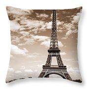 Eiffel Tower In Sepia Throw Pillow