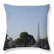 Eiffel Tower In The Distance Throw Pillow
