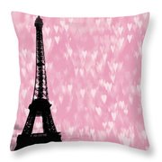 Eiffel Tower - Love In Paris Throw Pillow