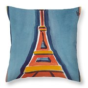 Eiffel Tower Orange Blue Throw Pillow