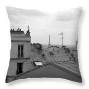 Eiffel Tower Over The Rooftops Throw Pillow