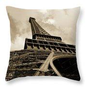 Eiffel Tower Paris France Black And White Throw Pillow