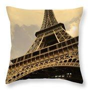 Eiffel Tower Paris France Sepia Throw Pillow by Patricia Awapara