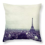 Eiffel Tower Paris Polaroid Transfer Throw Pillow by Jane Linders