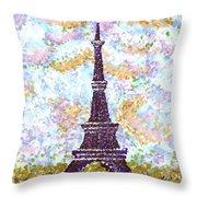 Eiffel Tower Pointillism Throw Pillow