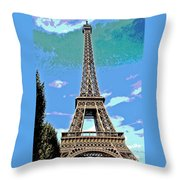 Eiffel Tower Posterized Throw Pillow