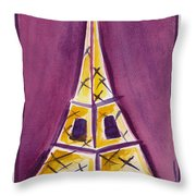 Eiffel Tower Purple And Yellow Throw Pillow