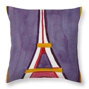Eiffel Tower Purple Red Throw Pillow
