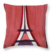 Eiffel Tower Red White Throw Pillow