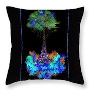 Eiffel Tower Topiary Throw Pillow