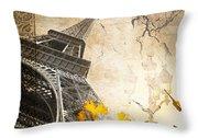 Eiffel Tower Vintage Collage Throw Pillow