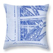 Eiffel Towers Steel Frame Blueprint Throw Pillow