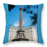 Eiffl Tower Vegas Throw Pillow