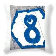 Eight Blue Tile Throw Pillow