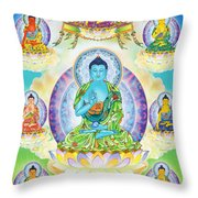 Eight Brothers Of The Medicine Buddha Throw Pillow