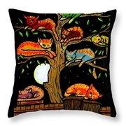 Eight Tree Cats Throw Pillow