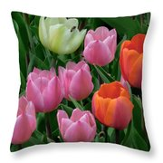 Eight Tulips And One Bee Throw Pillow by Muriel Levison Goodwin