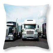 Eighteen Wheeler Vehicles On The Road Throw Pillow
