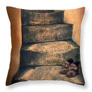 Eighteenth Century Shoes On Old Stairway Throw Pillow