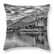 Eilean Donan - A Reflection Without Colour Throw Pillow