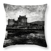 Eilean Donan Castle In Scotland Bw Throw Pillow