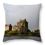 Eilean Donan With A Rainbow Throw Pillow