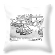 Einstein Is Seen Standing Next To A Parked Car Throw Pillow by Robert Leighton