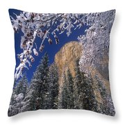 El Capitan Framed By Snow Covered Black Oaks California Throw Pillow