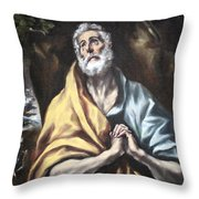 El Greco's The Repentant Saint Peter Throw Pillow