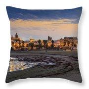 El Rompidillo Beach Panorama Cadiz Spain Throw Pillow